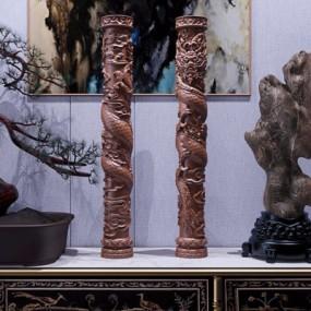 新中式祥云盘龙柱雕刻摆件3D模型【ID:327921842】