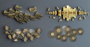 現代金屬掛件組合3D模型【ID:227779290】
