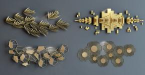 现代金属挂件组合3D模型【ID:227779290】