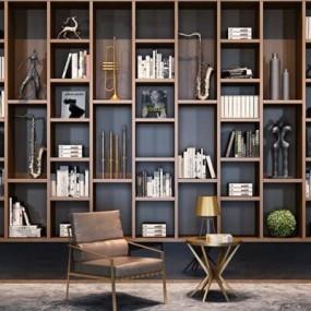 现代书柜单椅组合3D模型【ID:427942097】