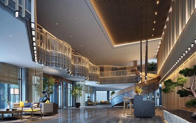 新中式酒店大堂3D模型【ID:427982249】