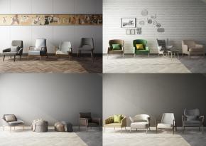 现代休闲椅沙发凳组合3D模型【ID:227779441】