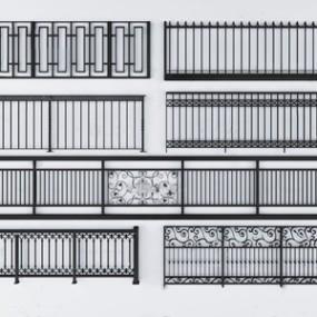 现代铁艺护栏组合3D模型【ID:831406578】