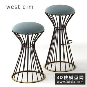 现代吧椅国外3D模型【ID:729322838】
