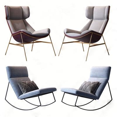 現代休閑單椅組合3D模型【ID:734038399】