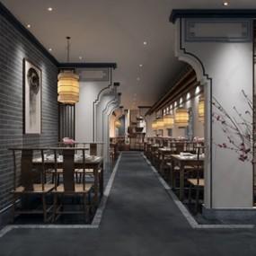 新中式徽派酒店餐厅过道3D模型【ID:528292549】