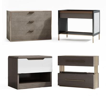 美式床頭柜組合3D模型【ID:928337601】