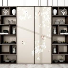 新中式实木装饰柜陶瓷器皿摆件3D模型【ID:927836295】