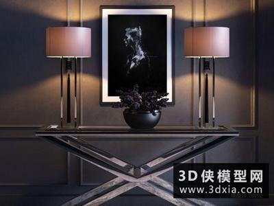現代案幾臺燈組合國外3D模型【ID:829490125】