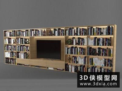 现代书柜电视墙国外3D模型【ID:929705095】