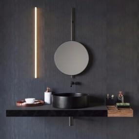 现代浴室柜台盆装饰镜饰品组合3D模型【ID:727811744】