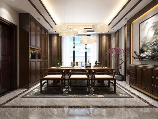 新中式茶室3D模型【ID:327918795】