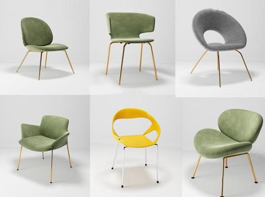 后現代金屬單人椅組合3D模型【ID:227881428】
