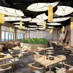 新中式餐厅3D模型【ID:728271938】