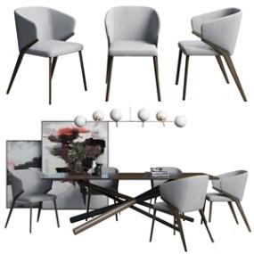 现代餐桌椅组合3D模型【ID:841632827】
