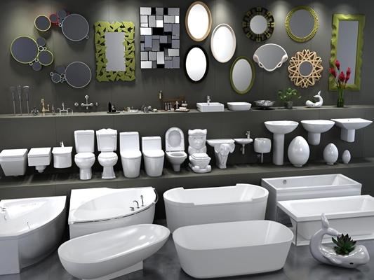 现代卫浴镜子台盆马桶花洒浴缸五金饰品植物组合3D模型【ID:227877057】