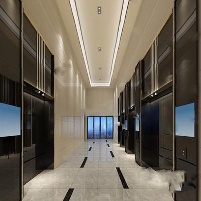 电梯厅3D模型【ID:620023071】