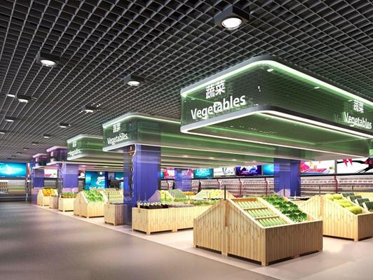 现代超市果蔬区3D模型【ID:528018380】