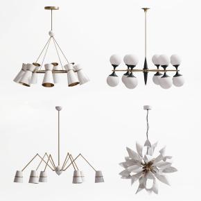 现代金属吊灯组合3D模型【ID:527800814】