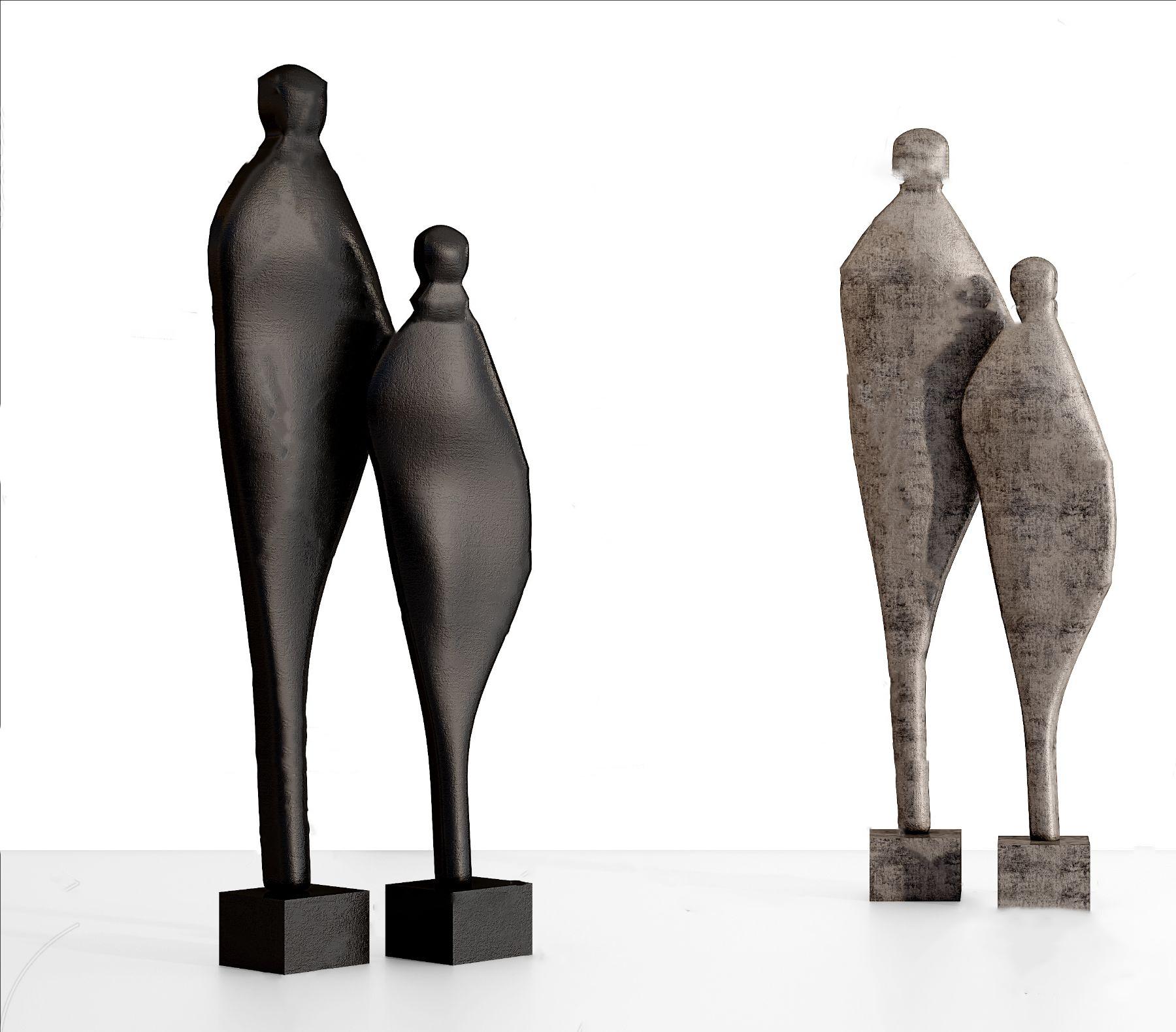 现代抽象人物雕塑摆件3D模型【ID:343093110】