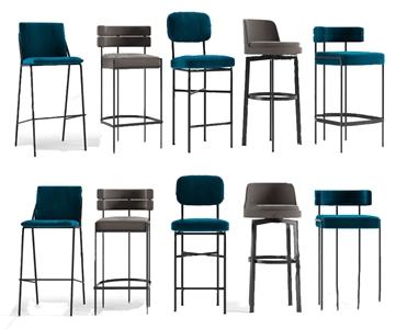 現代輕奢吧椅組合3D模型【ID:331400114】