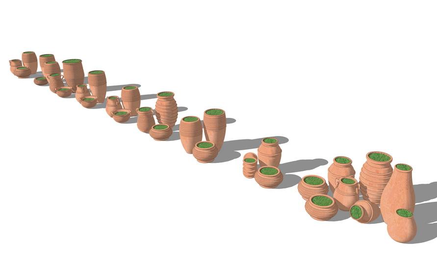 陶罐组合SU模型【ID:136612977】
