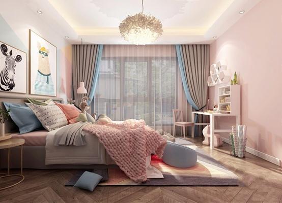 现代北欧儿童房3D模型【ID:127867299】