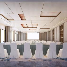 新中式大会议室3d模型【ID:947179167】