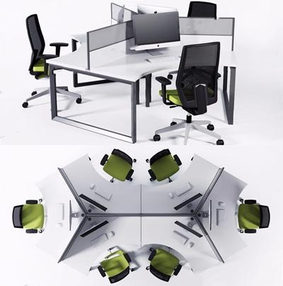 现代办公桌椅多人组合3D模型【ID:228230942】