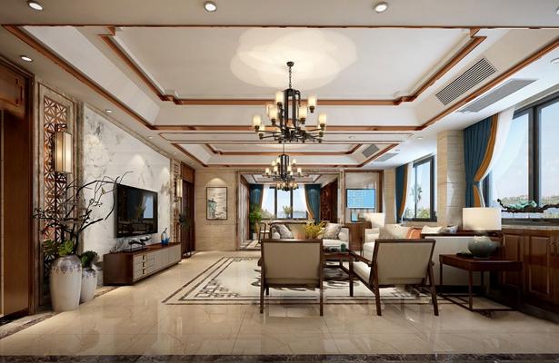 新中式客厅3D模型【ID:124896233】
