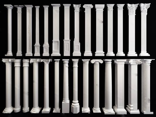 欧式柱子3D模型下载【ID:819506186】