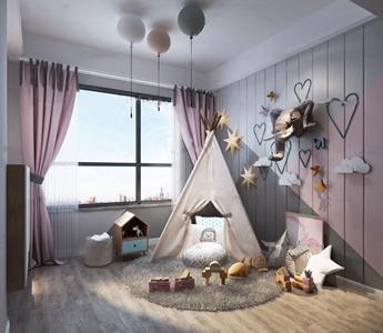 北欧帐篷儿童房女孩房3D模型【ID:131392251】