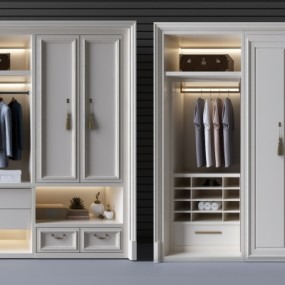 欧式实木衣柜储物柜组合3D模型【ID:927836948】