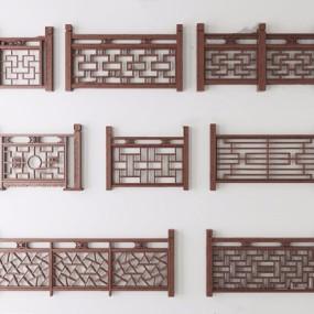 中式栏杆组合3D模型【ID:828154569】