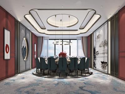 新中式轻奢餐厅包房3D模型【ID:650470838】