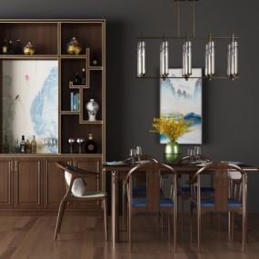 新中式实木餐桌椅3D模型【ID:328440416】