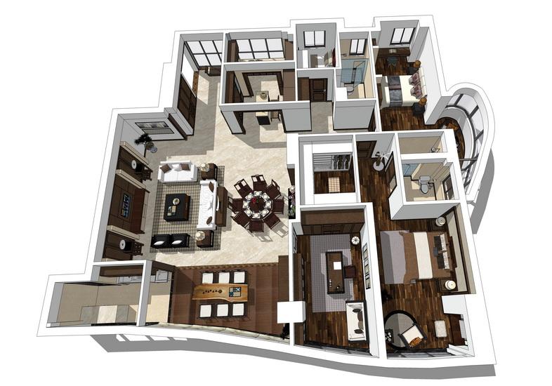 中式风格四房两厅室内设计SU模型【ID:436617835】