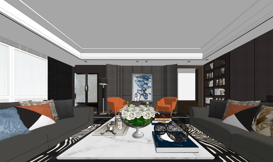 现代客厅室内设计SU模型【ID:936617880】