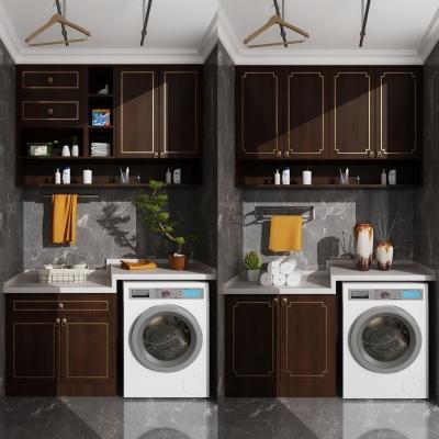 新中式滾筒洗衣機吊柜擺件3D模型【ID:127777555】