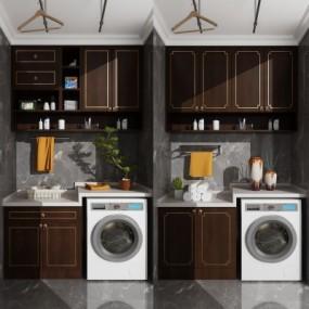 新中式滚筒洗衣机吊柜摆件3D模型【ID:127777555】