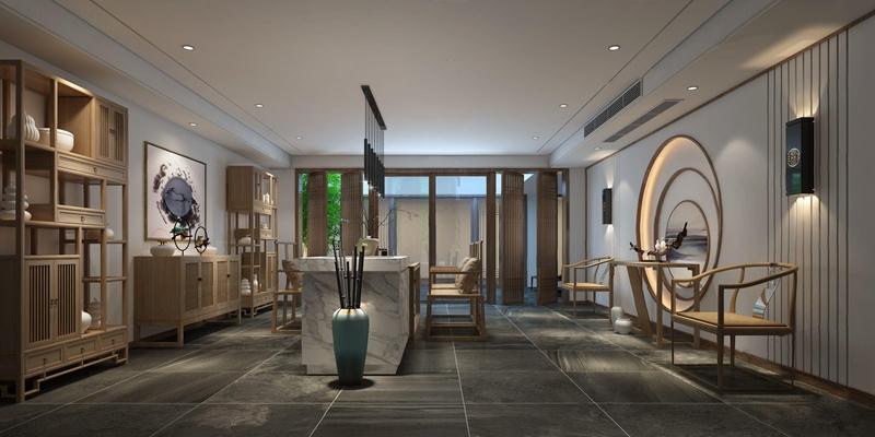 新中式茶室3D模型【ID:327917739】