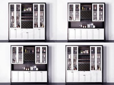 現代實木酒柜組合3D模型【ID:641711281】