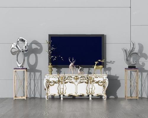 欧式电视柜3D模型【ID:920617005】