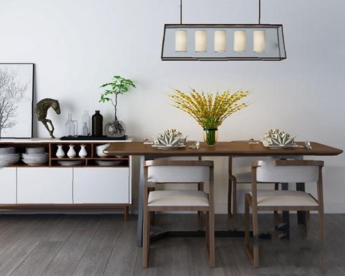餐桌椅组合3D模型【ID:120021845】