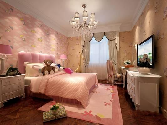 欧式儿童房3D模型【ID:419625657】