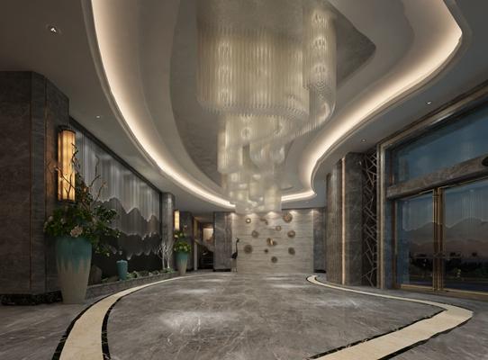 现代大厅3D模型【ID:124894350】