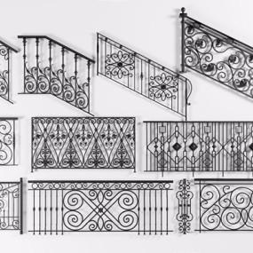 简欧黑色铁艺扶手栏杆组合3D模型【ID:828324551】