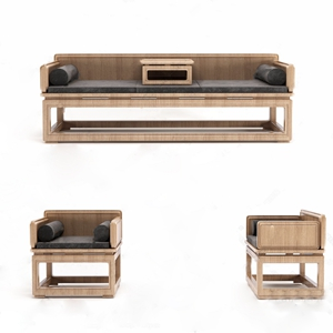 中式罗汉床单椅3D模型【ID:928354730】
