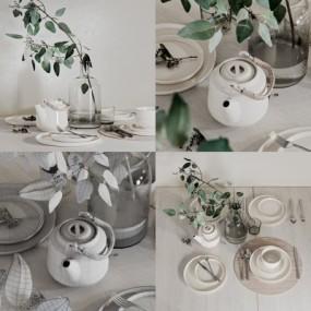 现代餐具摆件组合3D模型【ID:927839322】