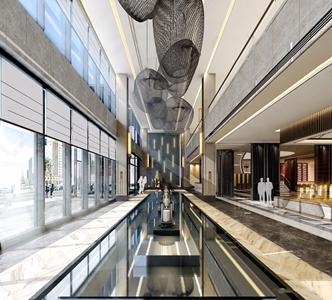 新中式售楼处大堂沙盘区3D模型【ID:428269529】